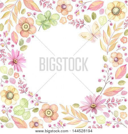 Floral frame with circle window. Vector illustration in vintage style of flowers, leaves and butterfly.