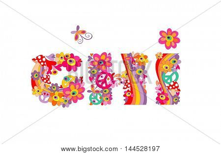 Hippie childish alphabet with colorful abstract flowers, rainbow and mushrooms. GHI