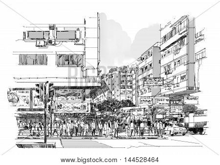 hand drawn sketch of city street, cityscape, drawing, Illustration.