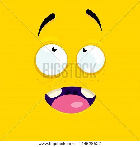 Cartoon face with an inspired expression on a yellow background.