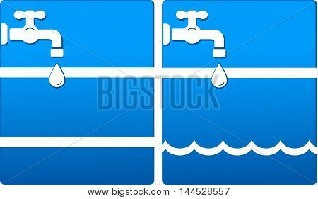 two blue backgrounds with tap water drop and wave