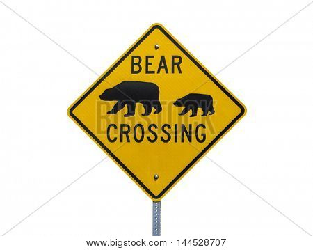 Bear Crossing highway sign isolated on white.