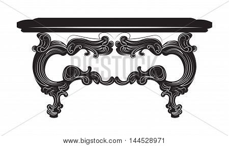 Vintage Baroque Table. French Luxury rich carved ornaments decorated furniture. Vector Victorian Royal Style structure