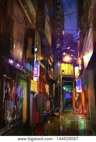 painting of dark alley at night, illustration