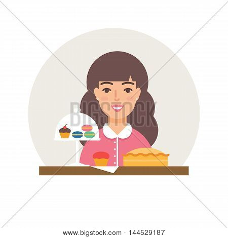Small business - confectionery, sweet-shop vector illustration flat style