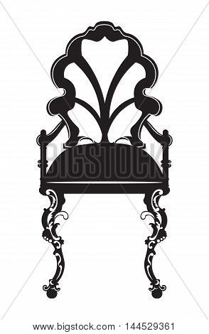 Elegant chair with rich ornaments. French Luxury carved decoration. Vector Victorian exquisite Style furniture. Black color