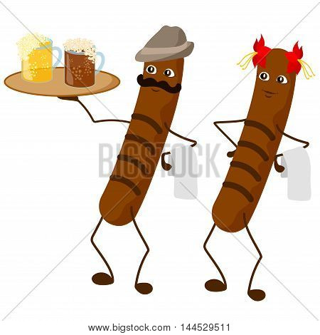Hand drawn cartoon character. Sausage waiters with light and dark beer on the tray. On the one sausage is a hat. It can be used for beer festivals.