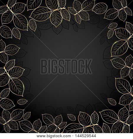 Beautiful gold frame with leaves on dark background.