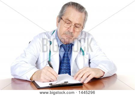 Seniors Doctor Writing
