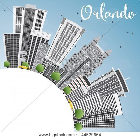 Orlando Skyline with Gray Buildings, Blue Sky and Copy Space. Vector Illustration. Business Travel and Tourism Concept with Orlando City. Image for Presentation Banner Placard and Web Site.