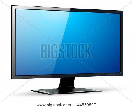 Monitor TV 3D icon, vector illustration.