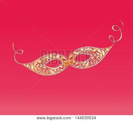 Vintage masque with floral golden pattern