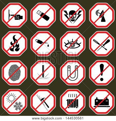 16 Prohibition signs, set vector illustration .Stop sign icon set