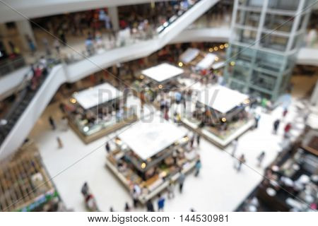 Shopping mall modern trade interior design with people in blur background