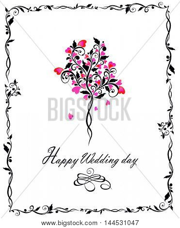 Wedding card with beautiful decorative tree