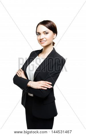 Smiling sucsess business woman with arms crossed - isolated over white with clipping path