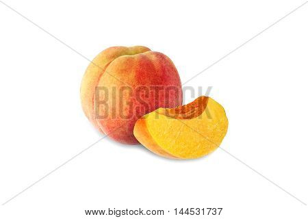 whole and half peach isolated on white background with clipping path