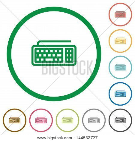 Set of computer keyboard color round outlined flat icons on white background