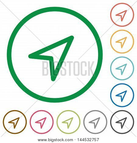 Set of direction arrow color round outlined flat icons on white background
