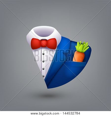 illustration of blue color tuxedo with carrot in a pocket on grey background