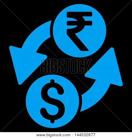 Dollar Rupee Exchange icon. Vector style is flat iconic symbol with rounded angles, blue color, black background.