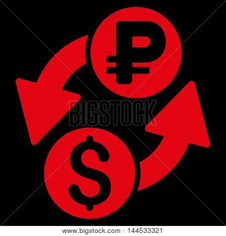 Dollar Rouble Exchange icon. Vector style is flat iconic symbol with rounded angles, red color, black background.