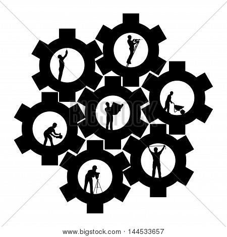 illustration of teamwork different builders silhouettes on white background