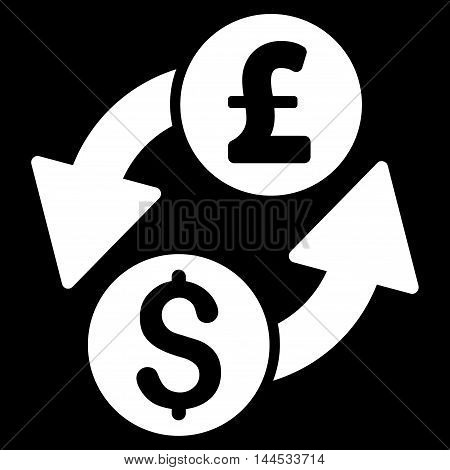 Dollar Pound Exchange icon. Vector style is flat iconic symbol with rounded angles, white color, black background.