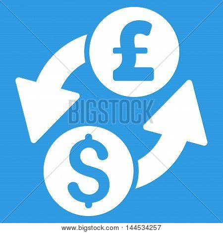 Dollar Pound Exchange icon. Vector style is flat iconic symbol with rounded angles, white color, blue background.