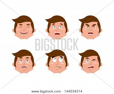 Emotions Man Set. Expressions Avatar People Collection. Good And Evil. Surprise And Fun. Sad And Agg