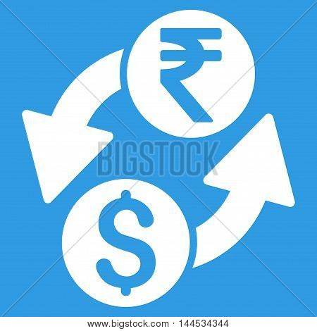 Dollar Rupee Exchange icon. Vector style is flat iconic symbol with rounded angles, white color, blue background.