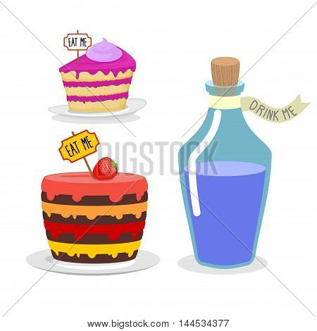 Eat Me Cake. Drink Me Potion. Set Meal For Alice In Wonderland. Big Birthday Pie With Cherries. Blue