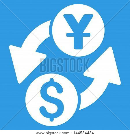 Dollar Yuan Exchange icon. Vector style is flat iconic symbol with rounded angles, white color, blue background.