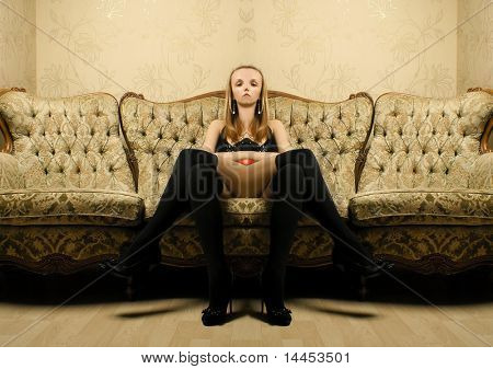 Abstract unreal woman in the mystical vintage interior