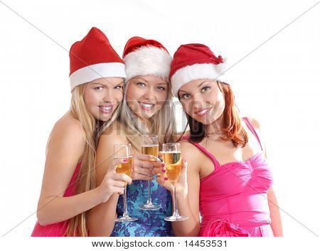 Christmas group portrait. Three young attractive sexy girls isolated on white.