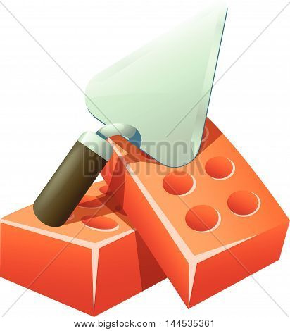 illustration of metal trowel lying on couple red bricks on white background