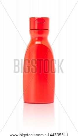 blank packaging red ketchup sauce bottle isolated on white background with clipping path