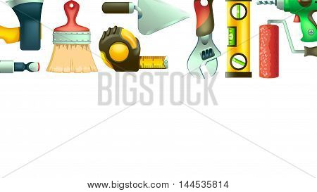 illustration of set of a lot different types of tool icons lying on white background