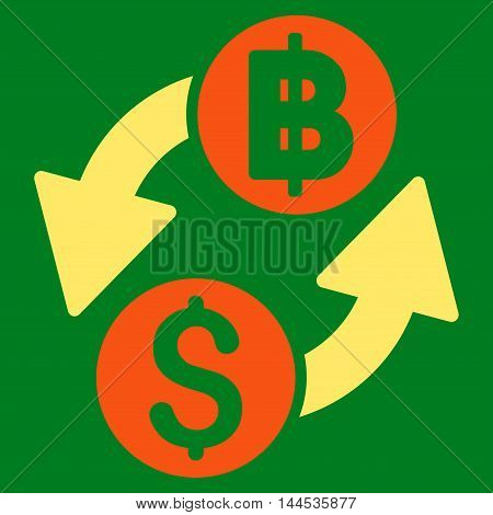 Dollar Baht Exchange icon. Vector style is bicolor flat iconic symbol with rounded angles, orange and yellow colors, green background.