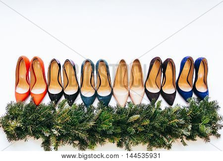 Women's  stylish shoes lot of colors. Isolated