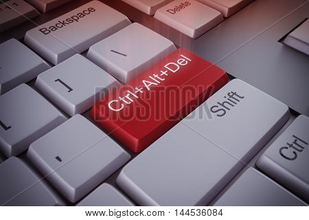 Computer keyboard with a restart red key 3D rendering