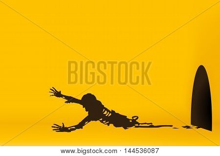 illustration of crawl silhouette zombie on yellow background