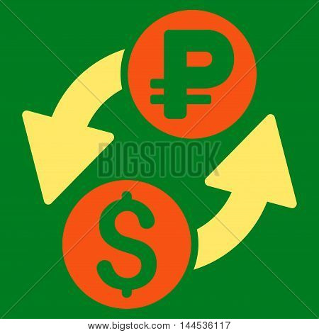 Dollar Rouble Exchange icon. Vector style is bicolor flat iconic symbol with rounded angles, orange and yellow colors, green background.