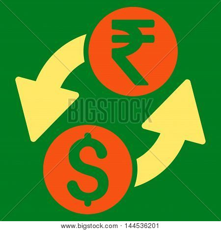 Dollar Rupee Exchange icon. Vector style is bicolor flat iconic symbol with rounded angles, orange and yellow colors, green background.