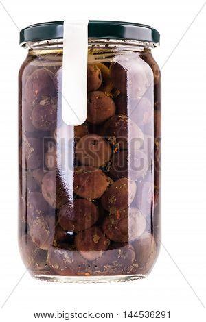 Black Olives Jar Isolated