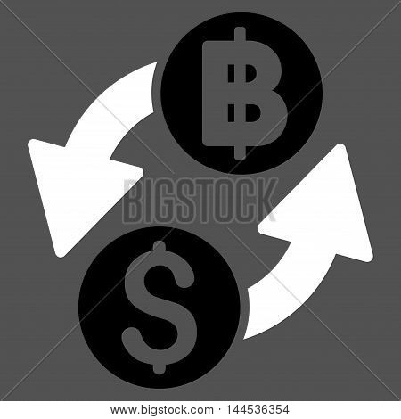 Dollar Baht Exchange icon. Vector style is bicolor flat iconic symbol with rounded angles, black and white colors, gray background.
