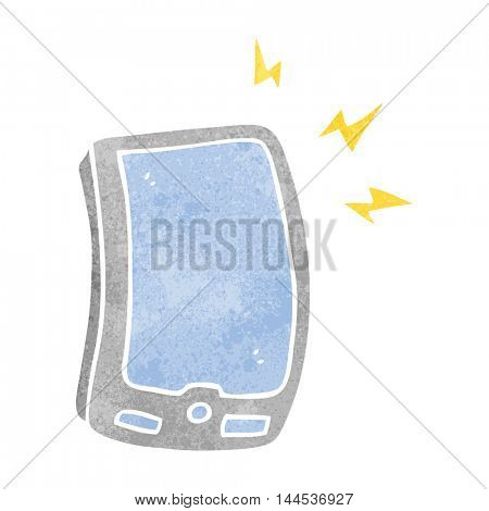 freehand retro cartoon mobile phone