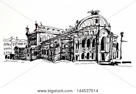 black and white sketch drawing of Ukraine Kyiv national opera and ballet theatre house facade view, sketching for postcard or travel book illustration