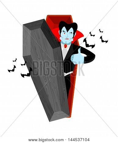 Dracula And Coffin. Vampire Thumbs Up Shows Well. Ghoul Winks. Signs All Right. Jolly Good Vampire.