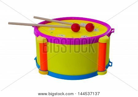 Drum with sticks children's musical instrument isolated on a background.